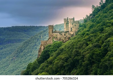 The Rheinstein castle, built in the 14th century, is located near the town of Trechtingshausen, Germany.