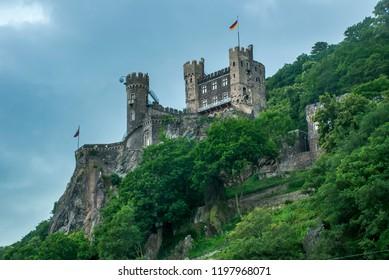 Rheinstein Castle in Rüdesheim am Rhein, Germany photographed in Frankfurt am Main, Germany. Picture made in 2009.
