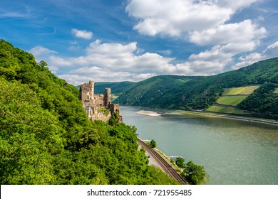 Rheinstein Castle at Rhine Valley (Rhine Gorge) in Germany. Built in 1316 and rebuilt in 1825-1844.