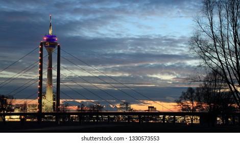 Rheintower in Dusseldorf and Rheinkniebrücke