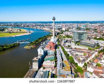 Rheinturm and Media Harbour district in Dusseldorf city in Germany
