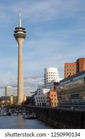 Rheinturm tower in Dusseldorf, Germany