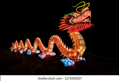 Rhenen,Holland,27-dec-2018:chinese light festival in the zoo of ouwehands in holland, this chinese light festival is to show the world the chinese culture with the start of new year