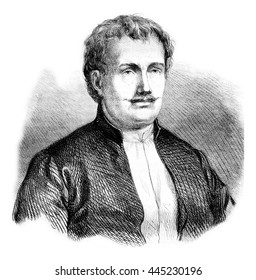 Rhigas, vintage engraved illustration. Magasin Pittoresque 1861.