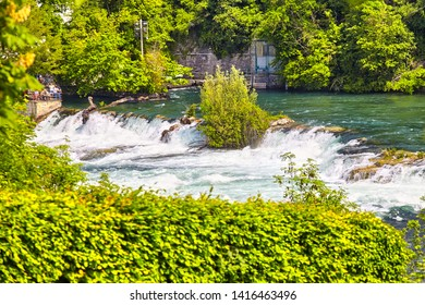 The Rhine Falls the biggest waterfall in Europe, view from the Laufen castle