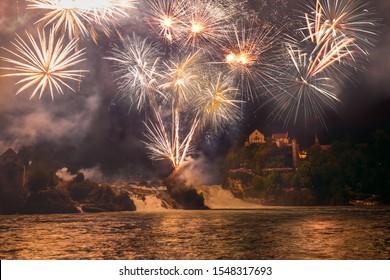 Rhine Falls Fireworks at Switzerland National Day