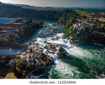 Rhine Falls (Rheinfall) waterfalls with Schloss Laufen castle, Neuhausen near Schaffhausen, Canton Schaffhausen, Switzerland, Europe