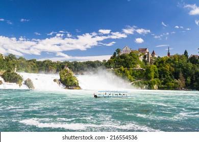 The Rhine Falls in Schaffhausen, Switzerland. The Rhine Falls is the largest waterfall in Europe.