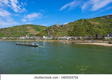 """The Rhine at Kaub with the so-called castle """"Gutenfels"""" in the background"""