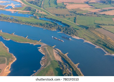 Rhine River with Container Ships in  Germany, Europe