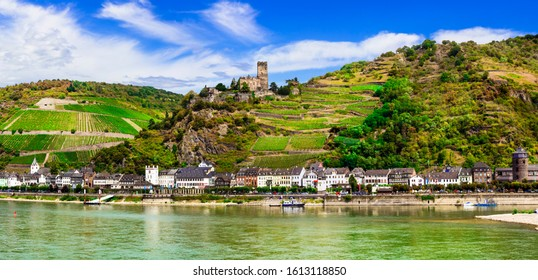Rhine river cruises,  Kaub town and medieval castle Gutenfels. Germany travel and landmarks