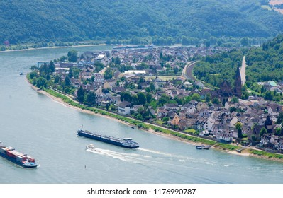 Rhine river in germany with lorelei rock - beautiful summer panorama view