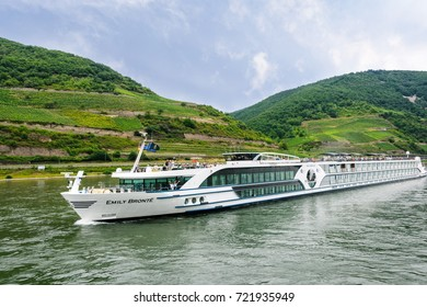 Rhine River - July 16, 2017:  Passengers aboard the Emily Bronte River Boat, one of the three brand new ships to join the Riviera Travel's fleet, available exclusively to the UK market.