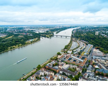 Rhine river in Mainz aerial panoramic view. Mainz is the capital and largest city of Rhineland-Palatinate state in Germany