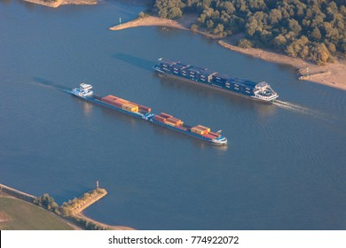 Rhine River with two Container Ships in Germany