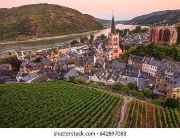 Rhine Valley City, Romantic Bacharach Panoramic view with beautiful Rhine river reflection and vineyard at twilight. Popular tourist destination and landmark as a UNESCO World Heritage Site in Germany