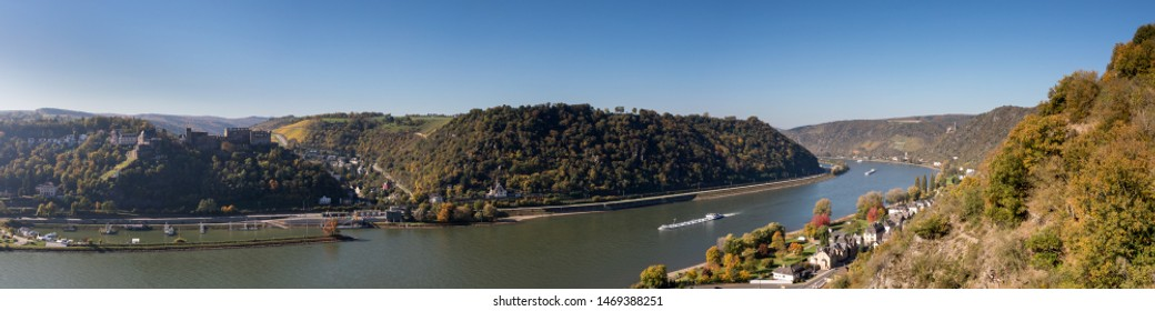 Rhine valley as seen from the Dreiburgenblick lookout, Hessen, Germany