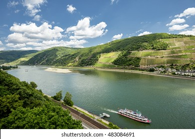 Rhine valley under clouded sky majestic view