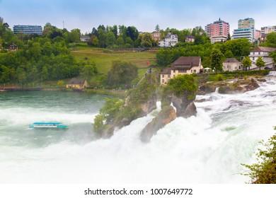 The Rhine water falls at Neuhausen, the largest waterfall in Switzerland, Europe.