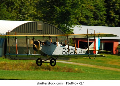 Rhinebeck, NY, USA September 4, 2009 A Curtiss JN 4H 03 takes off from a historic airport during a show in Rhinebeck, New York