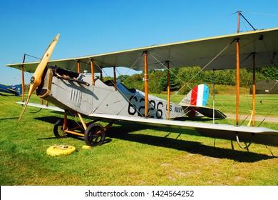 Rhinebeck, NY, USA September 4, 2009 A World War I era Curtiss JN 4H 1 is on display at the Rhinebeck Aerodrome in Rhinebeck, New York