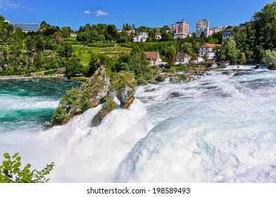 The Rhinefall near Schaffhausen, Switzerland is the biggest waterfall in Europe
