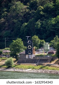 RHINELAND-PALATINATE, GERMANY - 7/6/2019:  The signals for controlling shipping through the Lorelei (or Loreley) gap in the Rhine River