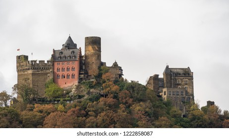 Rhineland-Palatinate/Germany - Oct 27 2018: View from Rhine River cruise in the fall
