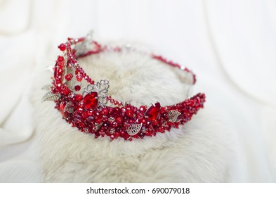Rhinestones red colored crown. Handmade head adornment. Queen decoration