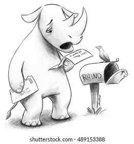 A rhinoceros stands by his mailbox reading a rejection letter and looking distraught.  A bird perched on his mailbox looks concerned.
