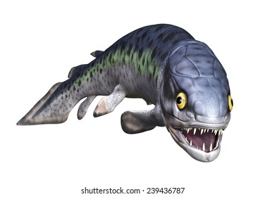 The Rhizodus was a very large (6 to 7 meters) prehistoric fish with long teeth and fangs - 3D render.
