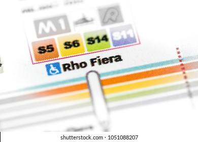 Rho Fiera Station. Milan Metro map.