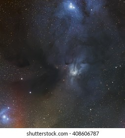 Rho Ophiuchi cloud complex a dark nebula of gas and dust in the constellation Ophiuchus taken with large CCD camera and medium focal length telescope