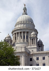 The Rhode Island State Capitol dome, oblique view