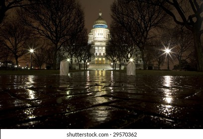 The Rhode Island State Capitol on a rainy night