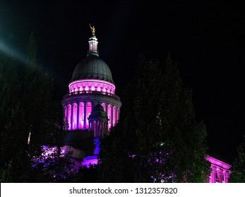 Rhode Island State House Illuminated in Pink Lights for Gloria Gemma Waterfire Celebration in Downtown Providence