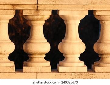 Rhode Island State House Pillars in Sunset, Providence, Rhode Island, USA