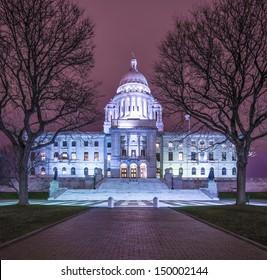 Rhode Island State House in Providence, Rhode Island, USA illuminated at night.