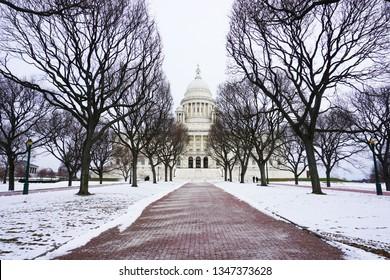 Rhode Island State House in winter