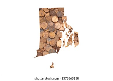 Rhode Island State Map and Money Concept, Piles of Coins, Pennies