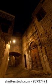 Rhodes castle at night. Rodos. Greece.