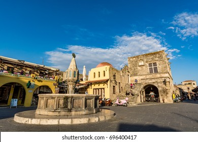 Rhodes, Greece - 14 April, 2017: Main square of Rhodes old town, Hippocrates square