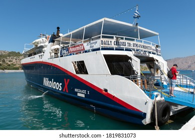 RHODES, GREECE -AUGUST 2020: Ferry boat is staying empty at city port.