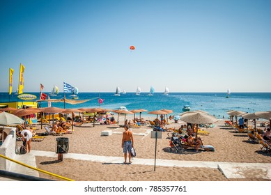 Rhodes, Greece - August 26, 2017: Sea panorama, overlooking the