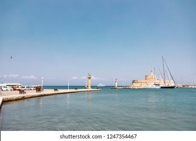 Rhodes, Greece - August 4, 2018: View of the iconic Colossus of Rhodes in the harbour of the city.