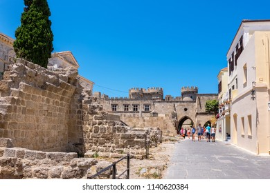 RHODES, GREECE - JULY 4, 2015: Tourists visiting in old town of Rhodes