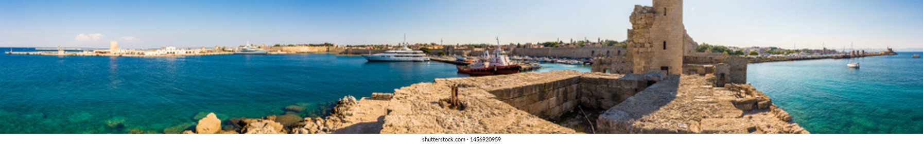 Rhodes, Greece - June 02, 2018. Pnoramic view of Rhodes port from Naillac tower