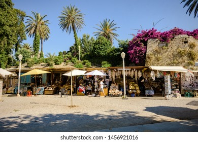 Rhodes, Greece - June 02, 2018. Daytime view of the street leading to the Grand Master Palace in The Medieval Old Town of the City of Rhodes