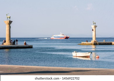 Rhodes, Greece - June 02, 2018. Large cruise ship arriving in Port Of Rhodes
