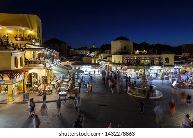 RHODES, GREECE - JUNE 06, 2016: Hippocrates fountain at the Rhodes old town main square in Rhodes island in Greece
